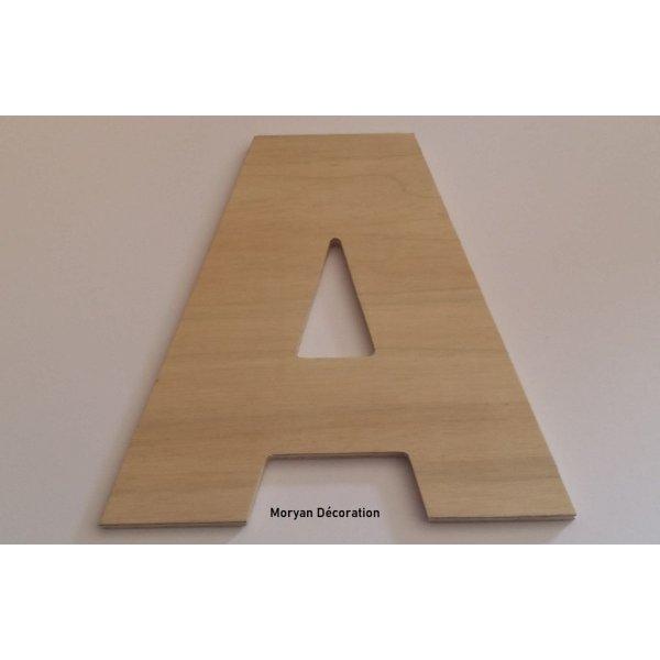 Lettre en bois brut à peindre modèle ARIAL BLACK