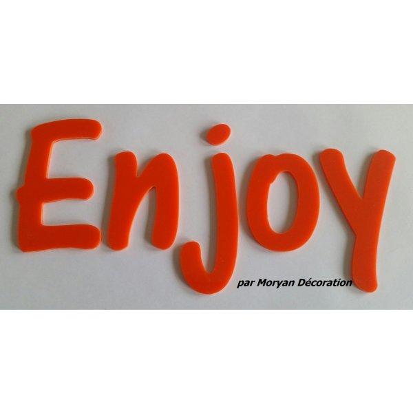 Lettre deco Enjoy en plexi , hauteur 20 cm