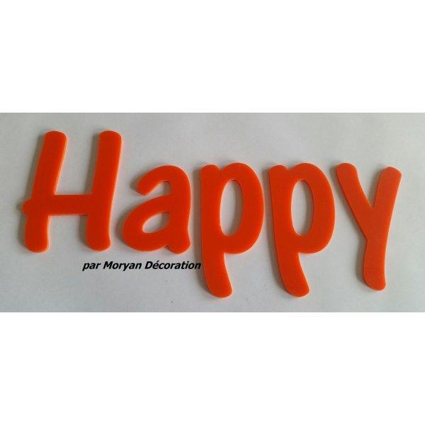 Lettre deco Happy en plexi , hauteur 20 cm