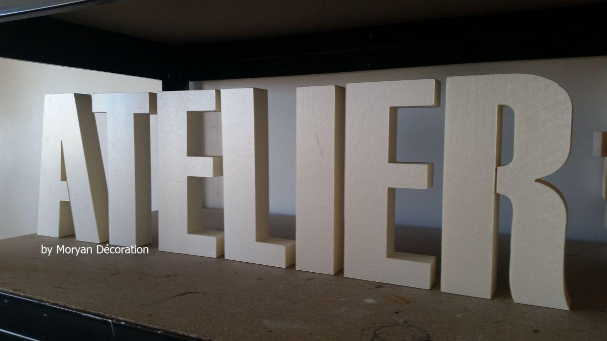 Lettre decorative polystyrene ATELIER , hauteur 20 cm