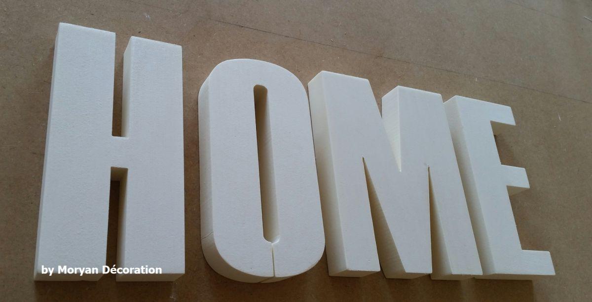 Lettre decorative polystyrene HOME , hauteur 15 cm
