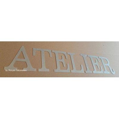 Lettre decorative en zinc ATELIER 20 cm