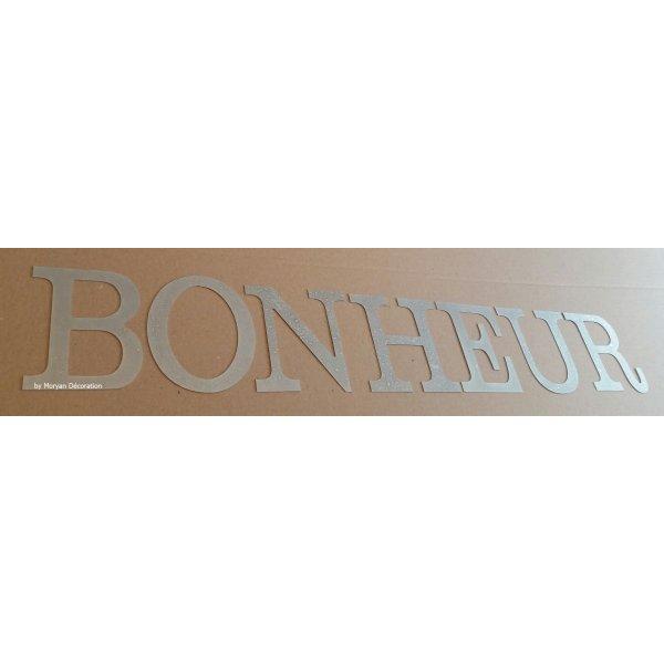 Lettre decorative en zinc BONHEUR 10 cm