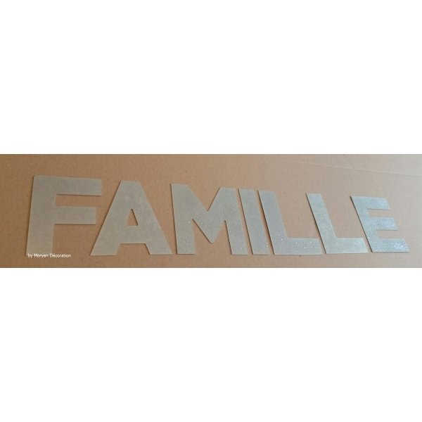 Lettre decorative en zinc FAMILLE 10 cm