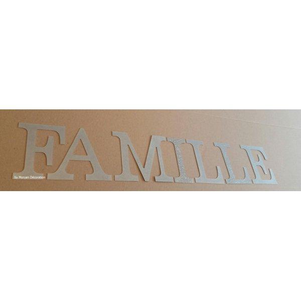 Lettre decorative en zinc FAMILLE 20 cm