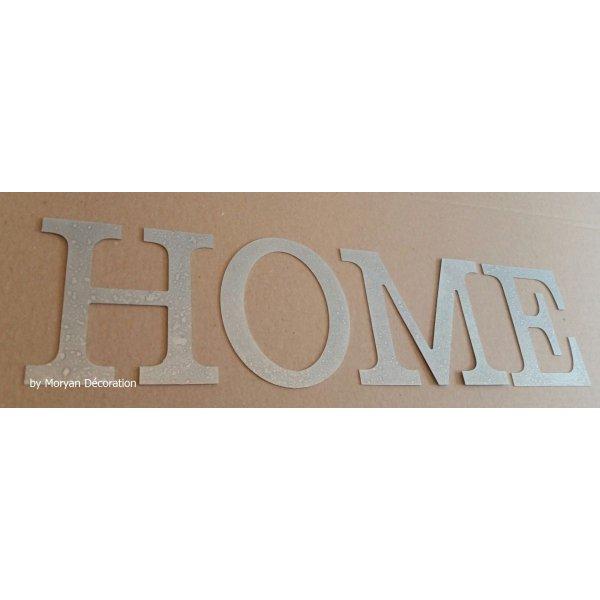 Lettre decorative en zinc HOME 10 cm