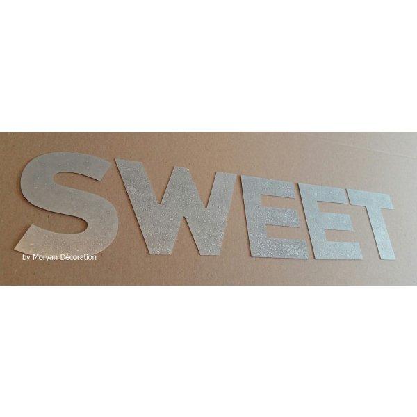 Lettre decorative en zinc SWEET 10 cm