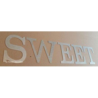Lettre decorative en zinc SWEET 20 cm