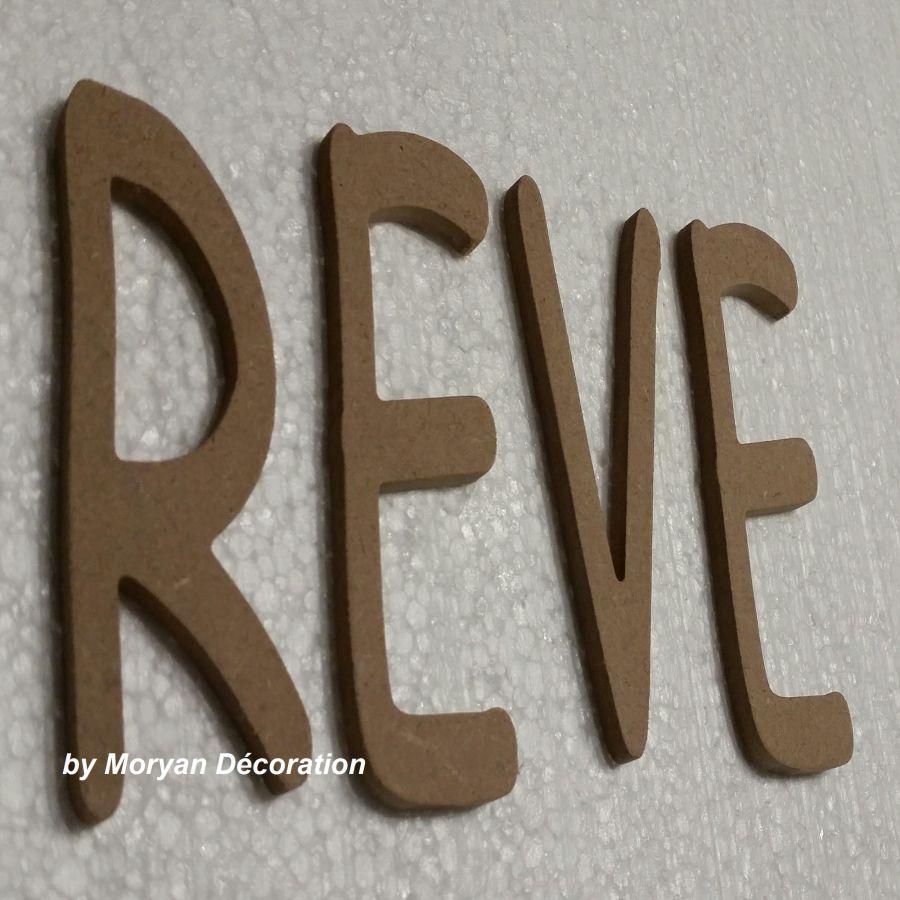 Lettre en bois decorative REVE