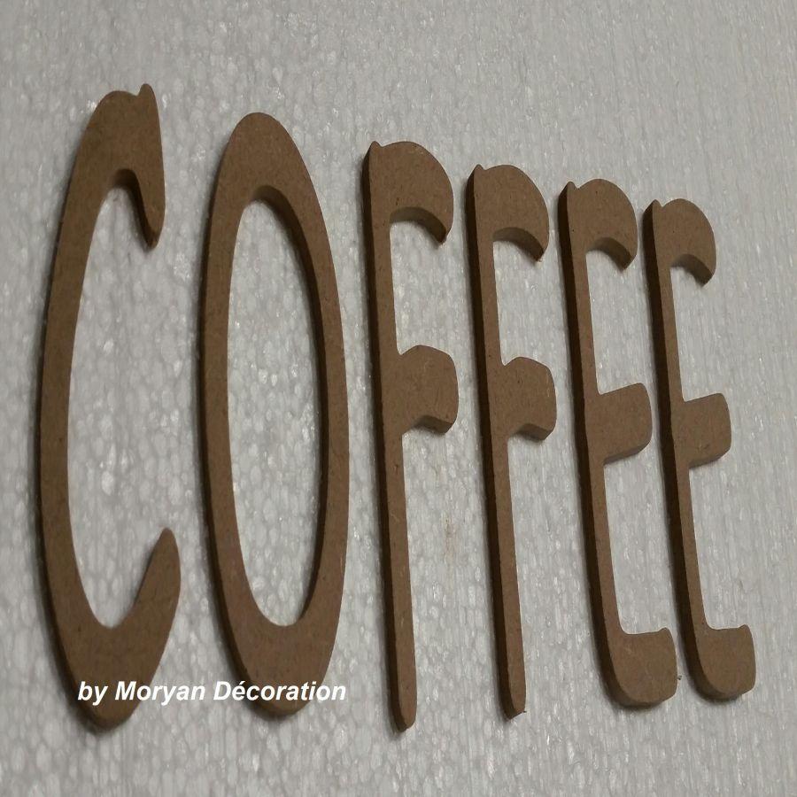 Lettres décoratives en bois à peindre ou à décorer COFFEE