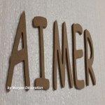 Lettres décoratives en bois à peindre ou à décorer AIMER