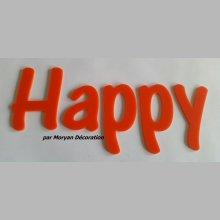 Lettre deco Happy en plexi , hauteur 30 cm