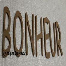 Lettres décoratives en bois à peindre ou à décorer BONHEUR
